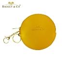 【BAGGLY&CO】精品質感皮革拉鍊圓形零錢包(黃色)