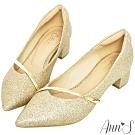 Ann'S高挑公主的婚鞋-閃亮軟金屬斜帶顯瘦低跟尖頭鞋-金