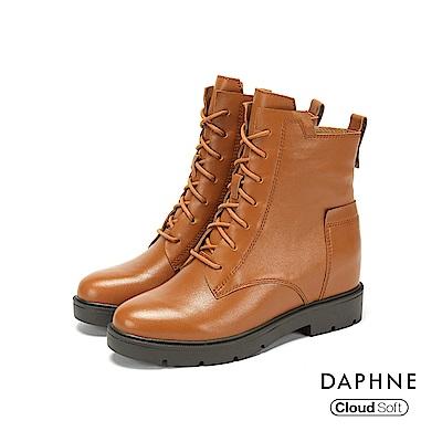 達芙妮DAPHNE 短靴-素色牛皮綁帶雲軟鞋底粗跟短靴-棕