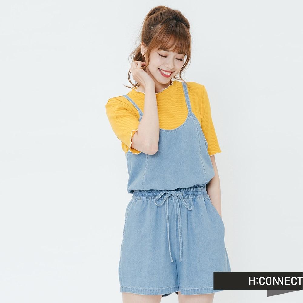 H:CONNECT 韓國品牌 女裝-牛仔細肩連身短褲-藍