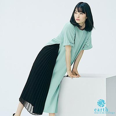 earth music 廣瀨鈴企劃款-側雪紡百摺拼接連身洋裝