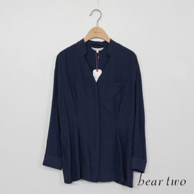 beartwo-素面V領襯衫-藍