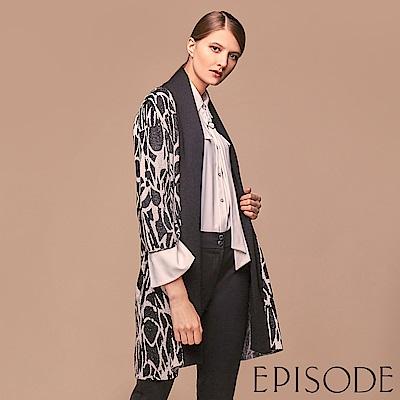 EPISODE - 幾何花卉造型翻領長版針織罩衫