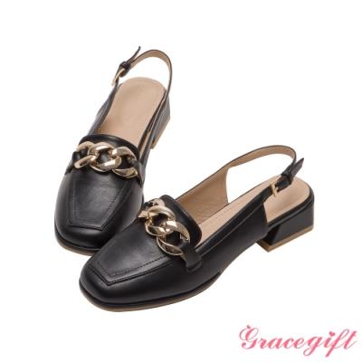 Grace gift-金屬鏈條後空低跟鞋 黑