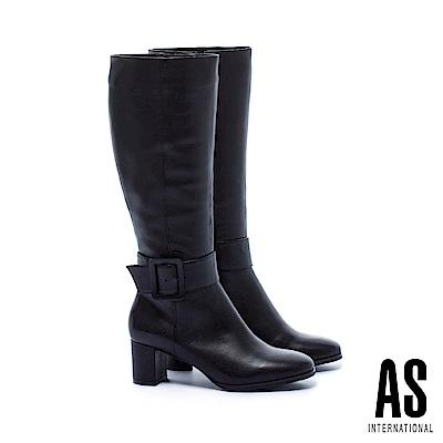 長靴 AS 時髦前衛方型大帶扣羊皮高跟長靴-黑