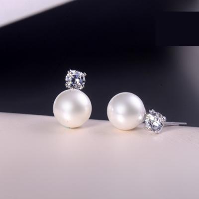 梨花HaNA  韓國925銀夫妻的世界金喜愛珍珠飾鑽耳環