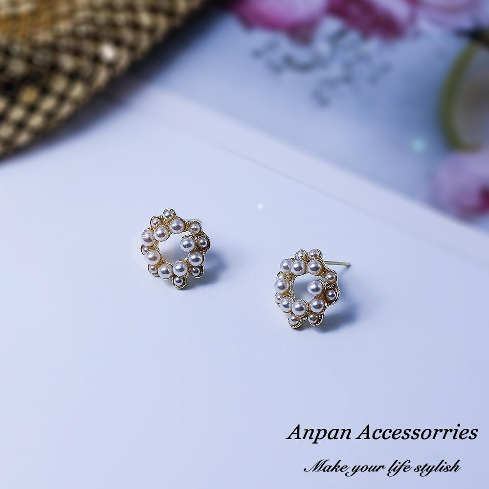 【Anpan 愛扮】韓東大門唯美夢幻圓形雙層珍珠圈925銀針耳釘式耳環