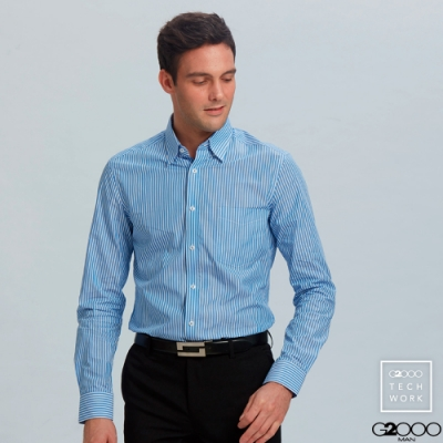 條紋長袖上班襯衫-藍色