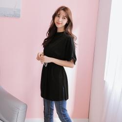 SUPER COLOR 柔棉純色中長版棉質短袖上衣-經典黑