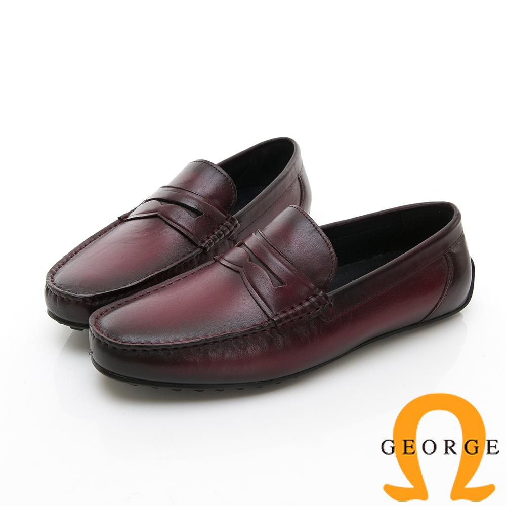 Amber 都會時尚 簡約直套式紳士皮鞋-酒紅色