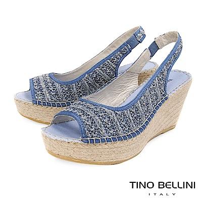 Tino Bellini 西班牙進口棉麻編織藝術魚口楔型涼鞋 _ 淺藍