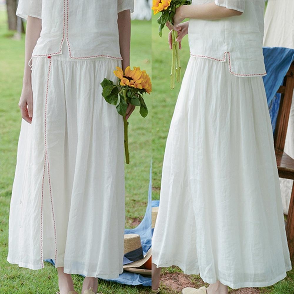 100褶皺苧麻純手工縫線白色長裙-設計所在
