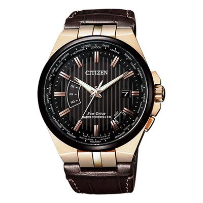CITIZEN 光動能電波計時續航腕錶-咖啡皮革(CB0164-17E)-42mm