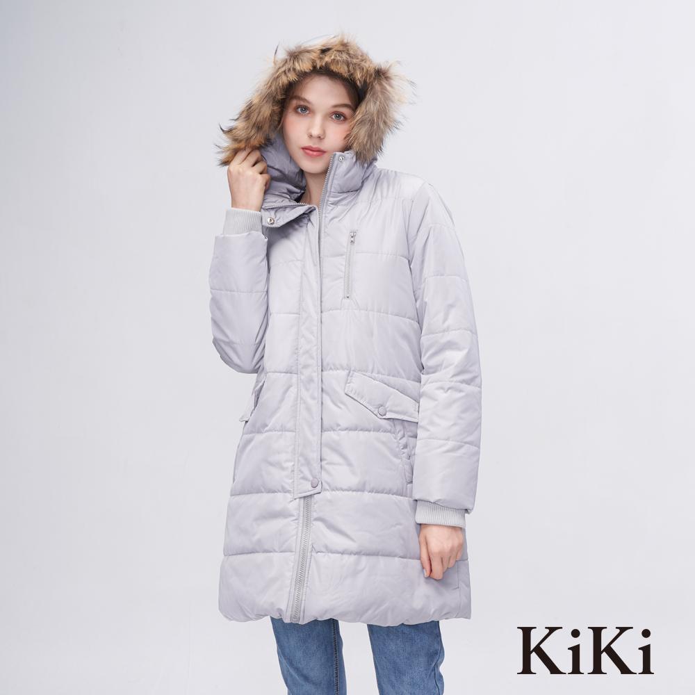 KiKi INLook 長版保暖素色連帽毛領大衣(灰色)