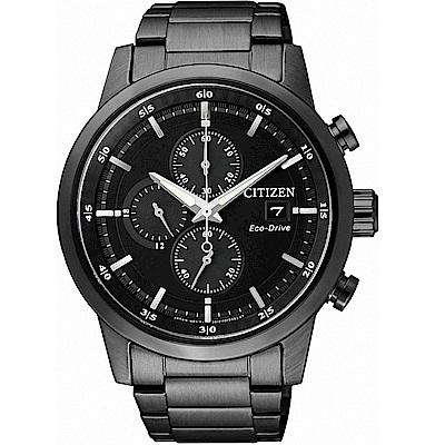 CITIZEN星辰 光動能競速潮流三眼計時腕錶(CA0615-59E)-黑/43mm