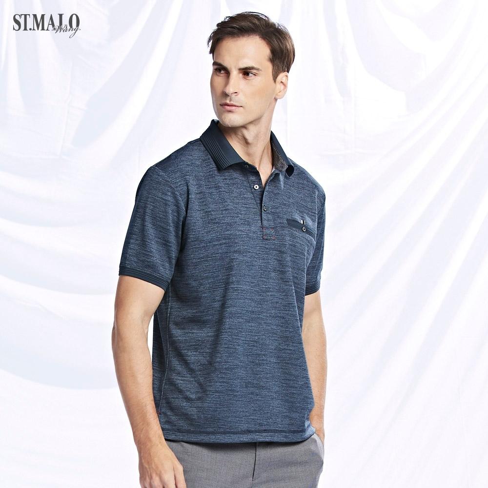【ST.MALO】XT2銀纖維99.9%緹花領紳士POLO衫-藍黑色