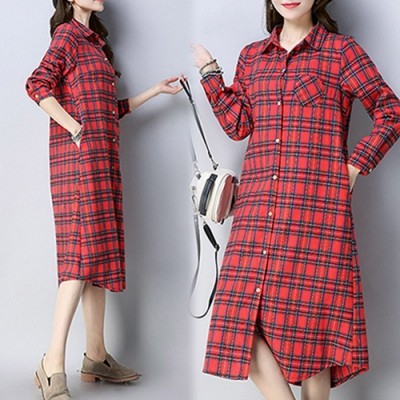 【韓國K.W.】民族風復古格紋長版襯衫洋裝
