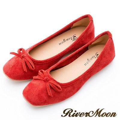 River&Moon女伶風采.細絨小方頭平底芭蕾娃娃鞋-酒紅
