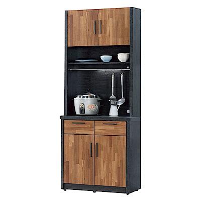 文創集 羅姆時尚2.7尺雙色二門餐櫃/收納櫃組合(上+下座)-80x40x197cm免組