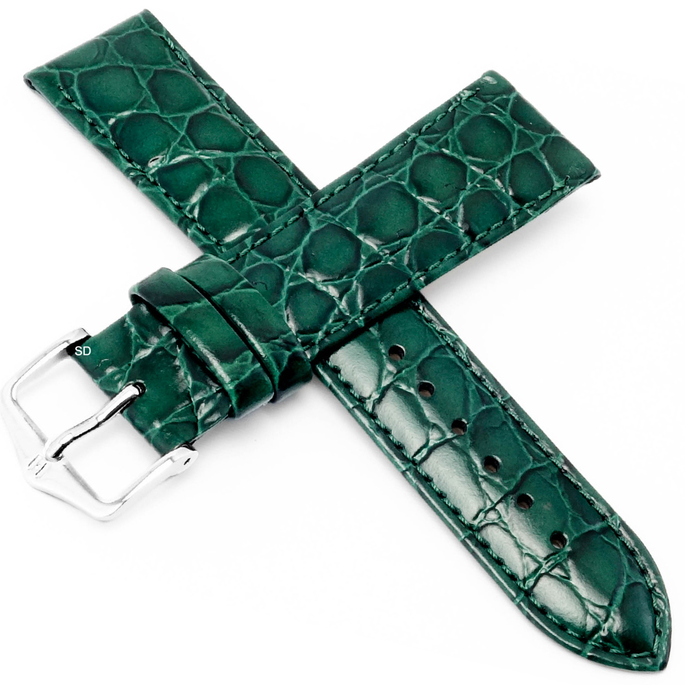 海奕施 HIRSCH Crocograin M 小牛皮手錶帶-綠