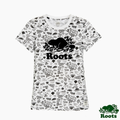 女裝Roots 滿版塗鴉短袖T恤-白色