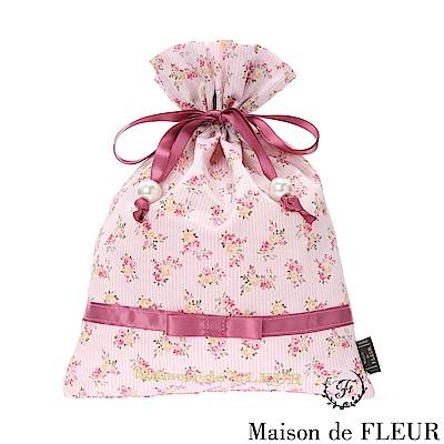 Maison de FLEUR 碎花直條紋蝴蝶結綁帶包包