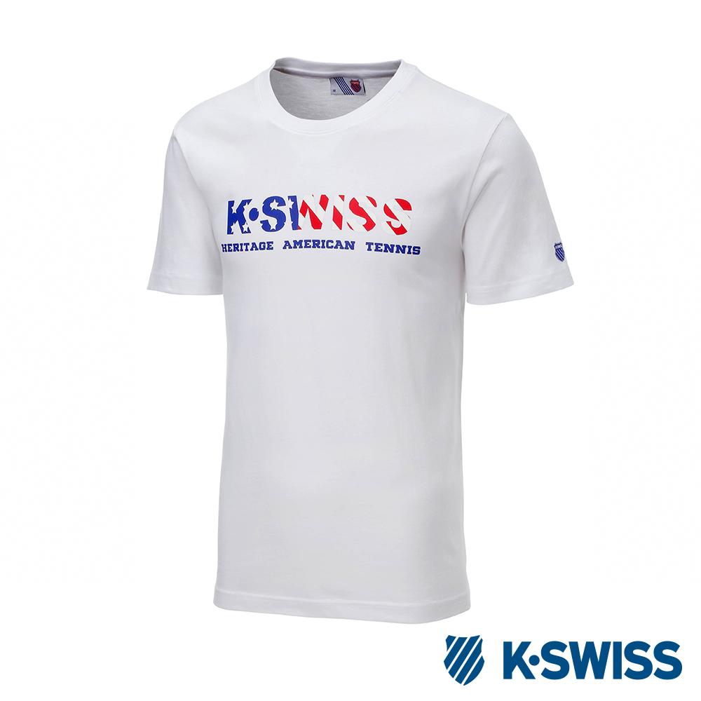 K-SWISS Falg Graphic Tee印花短袖T恤-男-白