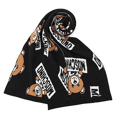 MOSCHINO 經典TOY小熊混織羊毛圍巾-黑色