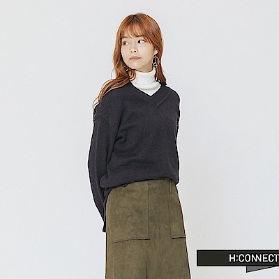 H:CONNECT 韓國品牌 女裝-側開岔V領針織上衣-藍