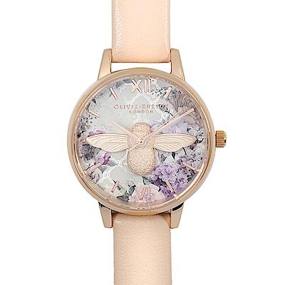 Olivia Burton 英倫復古手錶 3D立體蜜蜂花園 玫瑰金框粉膚色皮革錶帶30mm