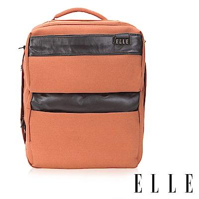 福利品 ELLE 精湛頂級頭層皮大容量17吋筆電扣層公事包/後背包/側背三用包(大)-橘色
