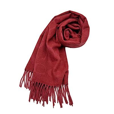 COACH 經典滿版LOGO羊毛混絲披肩圍巾-紅色