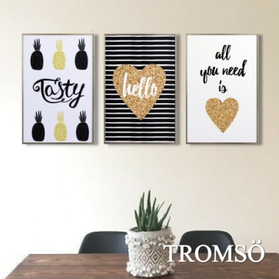 TROMSO北歐生活版畫有框畫-北歐舒心WA130(三幅一組)