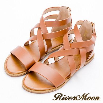River&Moon大尺碼-清新復古風皮感編織羅馬涼鞋-棕