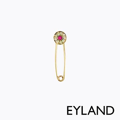 Eyland英國倫敦 JUDY 水晶桃金迴紋針單邊耳環