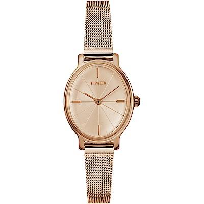 TIMEX 天美時 復刻系列優雅米蘭帶手錶-玫瑰金/24mm