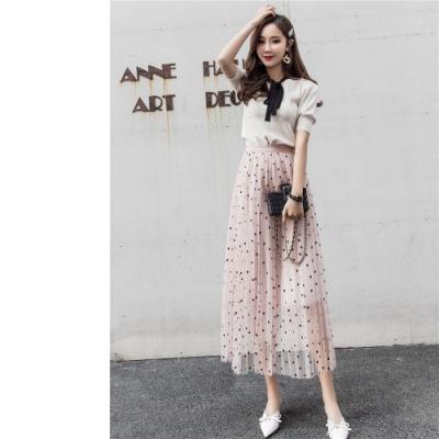 2F韓衣-韓系波點網紗氣質長裙-2色(F)