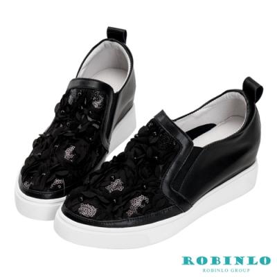 Robinlo 法式浪漫花瓣牛皮內增高休閒鞋 黑色