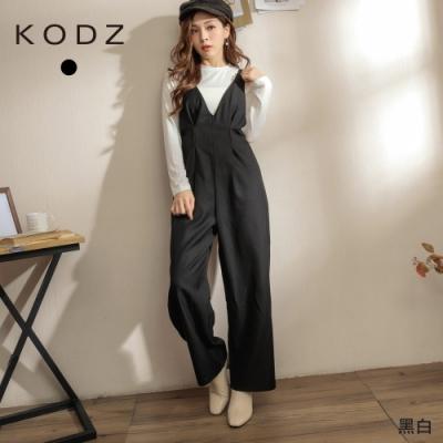 東京著衣-KODZ 時尚俐落V領打褶兩件式連身褲-M.L