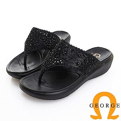 GEORGE 喬治皮鞋 水鑽花朵鏤空真皮夾腳厚底拖鞋 -黑