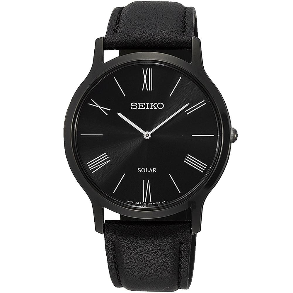 SEIKO 精工SOLAR太陽能極簡風格時尚腕錶(SUP855P1/V115-0BE0SD)