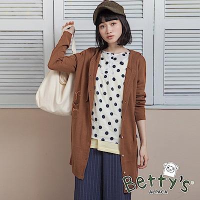 betty's貝蒂思 連帽抽繩排釦針織罩衫(咖啡色)