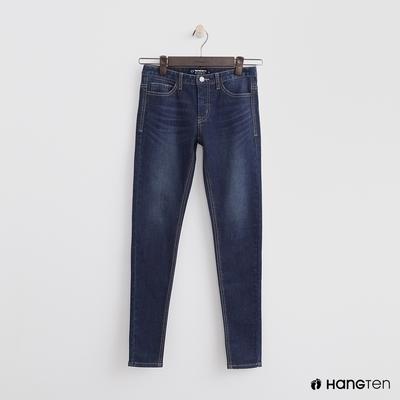 Hang Ten-女裝-經典簡約合身牛仔褲-深藍色