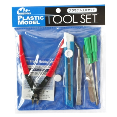 日本MINESHIMAミネシマ入門進階版塑膠模型工具6件組A-5(含剪鉗子/十字起子/一字起子/鑷子/銼刀/美工刀)plastic model tool set