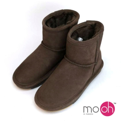 mo.oh澳洲真皮防水素面短筒雪靴