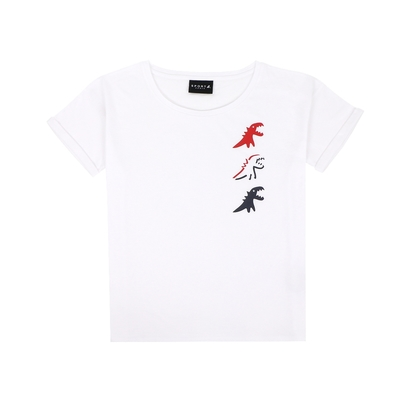 agnes b. - Sport b. 恐龍印花圓領滾邊短袖上衣(女)(白)