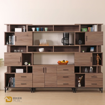 D&T 德泰傢俱 BROOK淺胡桃木9.2尺櫥櫃收納櫃組-2格層 寬280×深41.5×高196cm