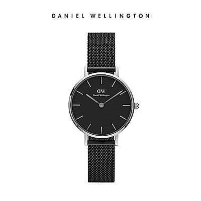 DW 手錶 官方旗艦店 28mm銀框 Classic Petite 寂靜黑米蘭金屬編織