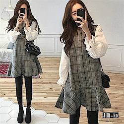 Jilli-ko 假兩件學院風格子連衣裙- 灰