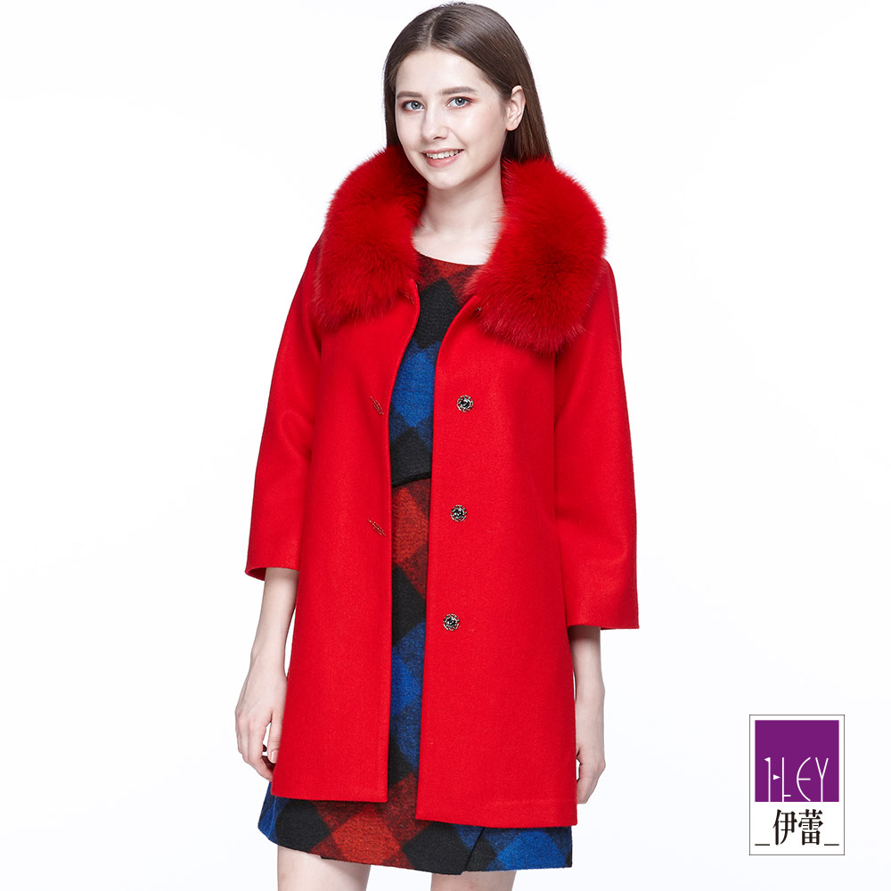 ILEY伊蕾 經典奢華毛領傘擺大衣(紅)